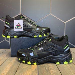 Fila Oakmont Trail Mid Black Lime Boot Size 10